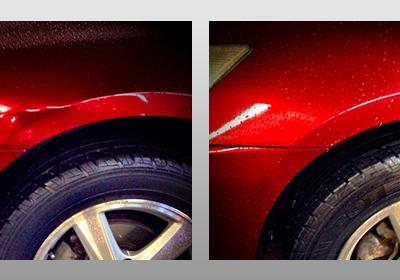 Red Front Fender Dent
